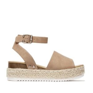 Shoes - Platform Espadrille Sandals in Taupe